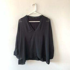 Zara Sheer Chiffon Layered Blouse Top Size XS